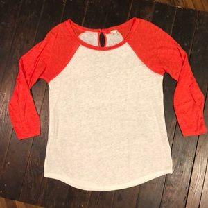 J Crew Linen Baseball Shirt.